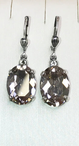 Swarovski Oval Crystal Silver Earrings