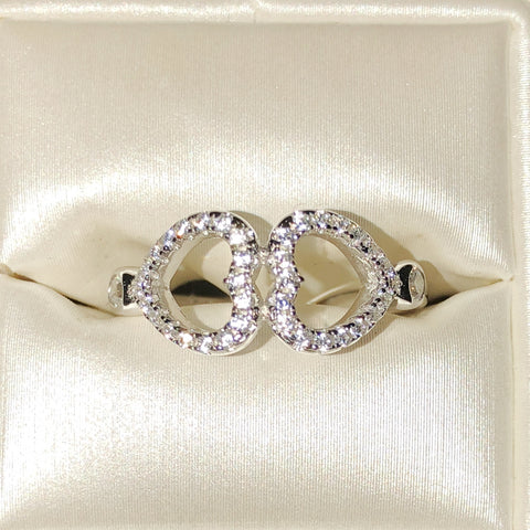 Double CZ Heart Sterling Silver Ring