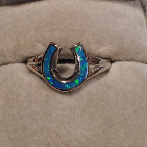 Blue Opal Silver Horseshoe Ring