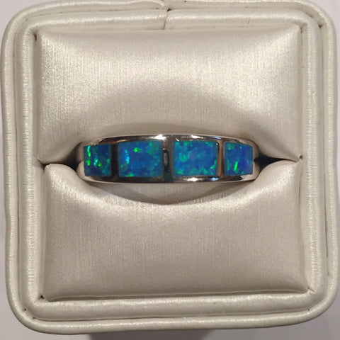 Blue Opal Silver Band Ring