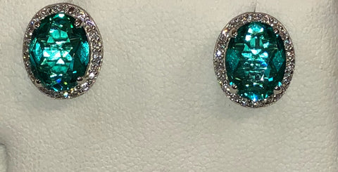 Paraiba Colored CZ Silver Earring