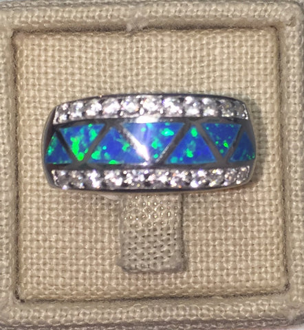 Blue Opal and CZ Silver Band Ring