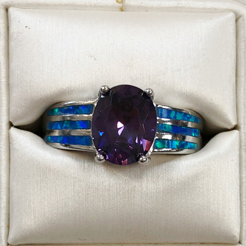 Blue Opal and Amethyst Sterling Silver Ring