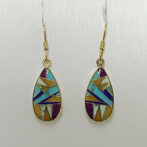 Teardrop Inlaid Bronze Earrings