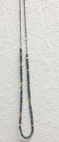 Oxidized Silver and Gold Filled Chrysocolla Necklace