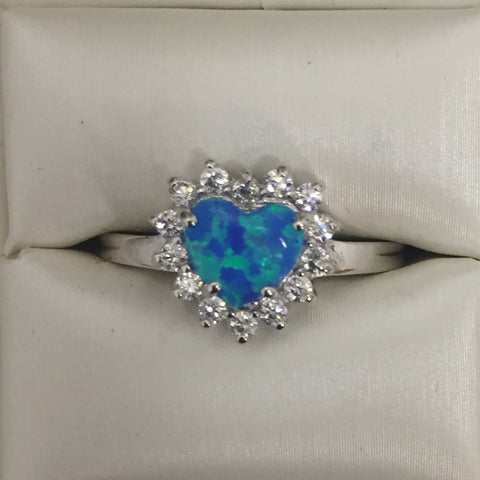Blue opal and CZ Heart Silver Ring