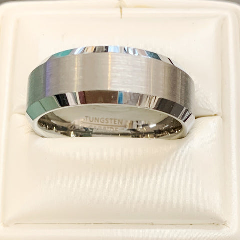 Mens Silver Tungsten Ring