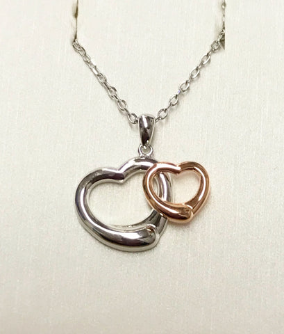 Open Heart Silver Rose Gold Necklace