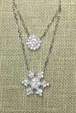 CZ Double Layer Silver Necklace