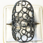 Bubbles CZ 24K Black Gold Ring 8.5