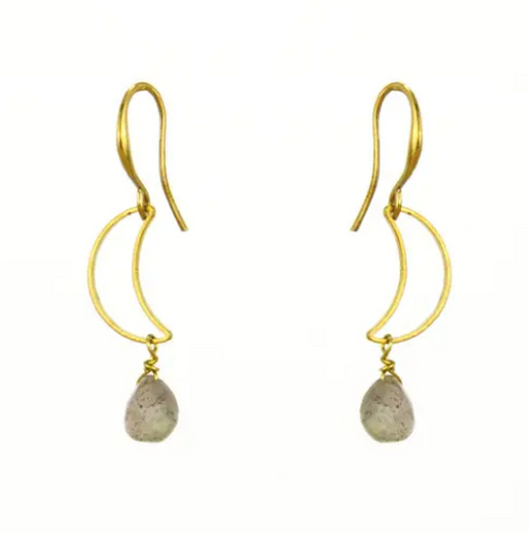 Gemstone Moon Brass Earrings