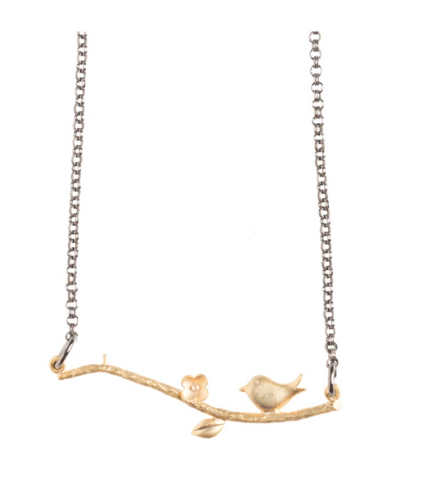 Antique Bird On Branch Necklace