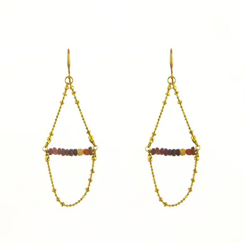 Watermelon Tourmaline Fancy Drape Earring