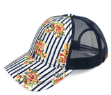 Striped Floral Mesh Baseball Cap