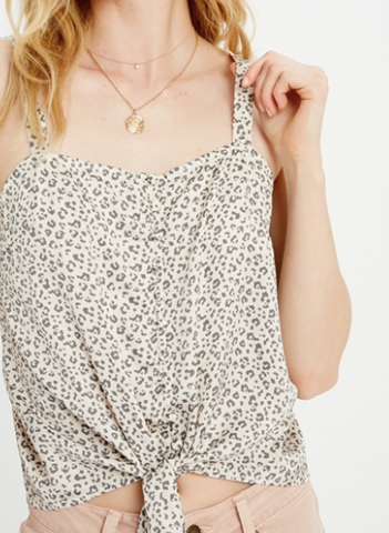 Tie Front Knit Tank Top