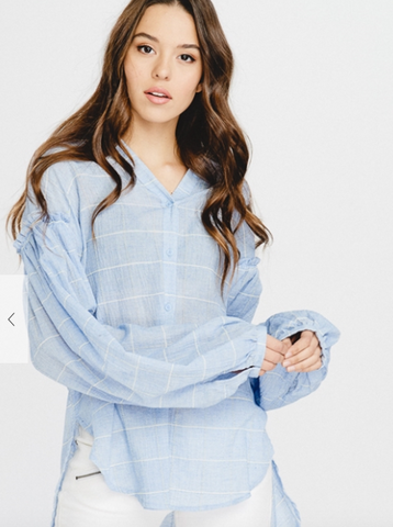 Long Bishop Sleeve Cotton Windowpane Blouse