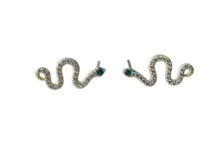 Snake CZ Post Earrings