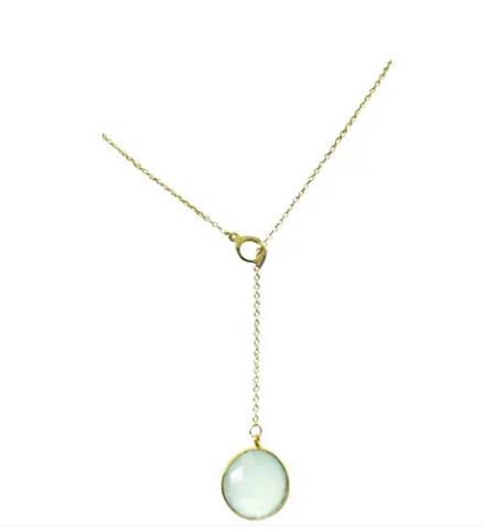 Aqua Chalcedony Lariat Necklace
