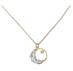 Baguette Moon Gold Plated Necklace