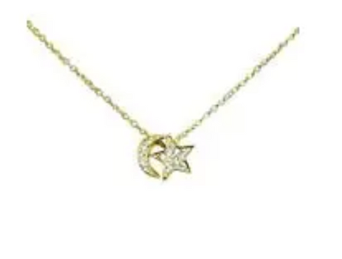 Star Moon CZ Gold Plated Necklace