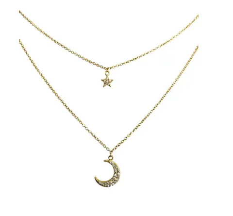 Moon Star CZ Double Layer Gold Plated Necklace