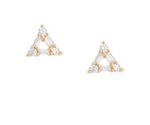CZ Baguette Triangle Gold Plated Earrings