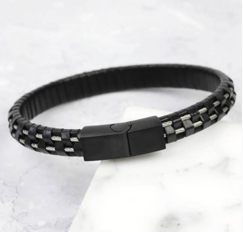 Mens wire leather black clasp bracelet