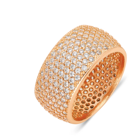 Wide CZ 24K Yellow Ring