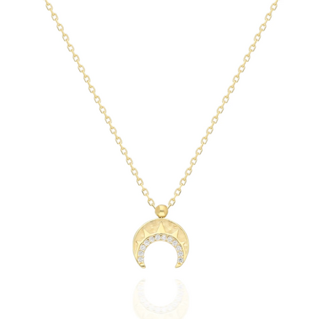 Mini Crescent Horn CZ 24K White Gold Necklace