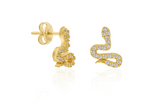 Mini Snake CZ 24K Gold Earring