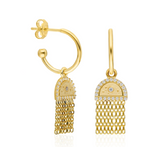 Mini Tassel CZ 24K Gold Earring