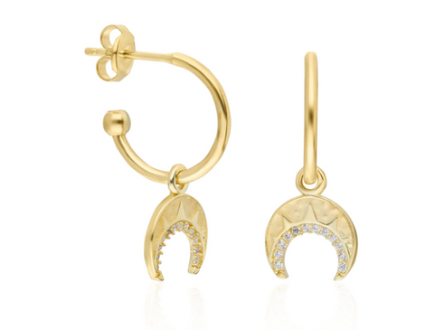 Mini Crescent CZ 24K Gold Earring