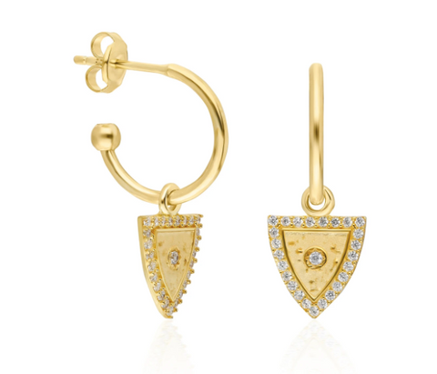 Mighty Triangle CZ 24K Gold Earrings