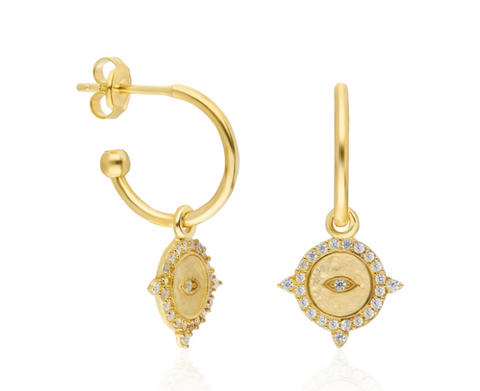 Mini Coin CZ 24K Gold Earrings