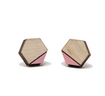 Hex Pink Wood Earrings