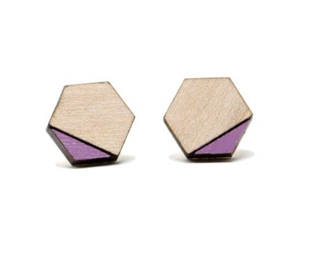 Hex Purple Wood Earring
