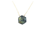 Hexagon Stone Gold Necklace