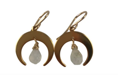 Crescent Moon Moonstone Gold Earring
