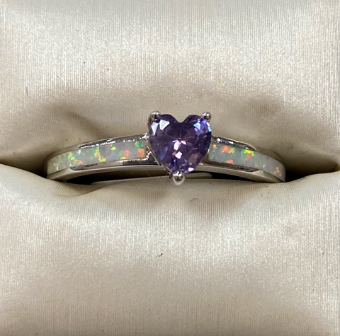 White Opal Amethyst Heart Sterling Silver Ring