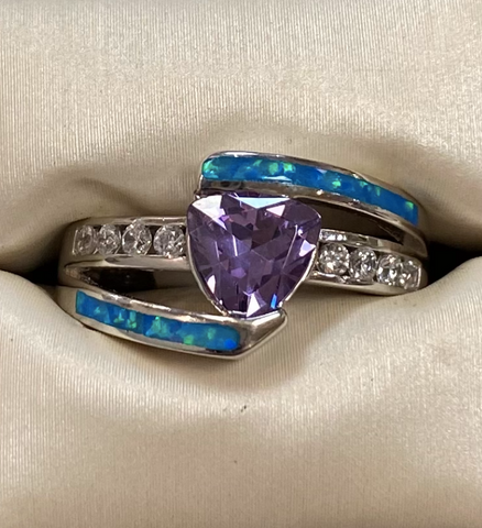 Amethyst Blue Opal Sterling Silver Ring