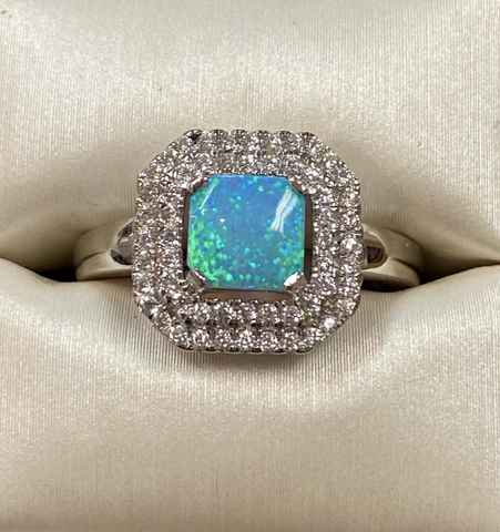 Blue Opal Cz. Sterling Ring
