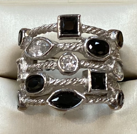 Black Onyx and Cz Sterling Silver Ring