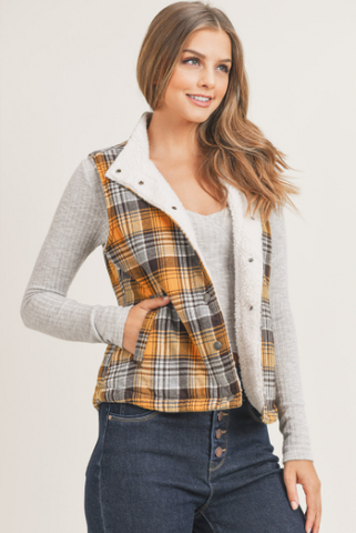 Plaid Trucker Vest