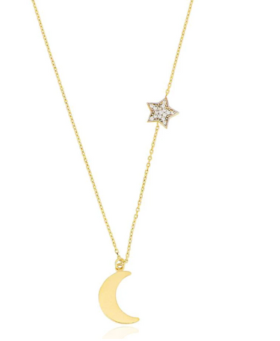 Stella Moon Star CZ Key 24K Gold Necklace