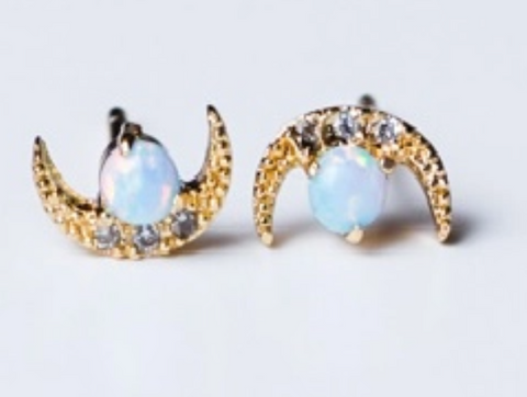 Moon Opal CZ Gold Earrings