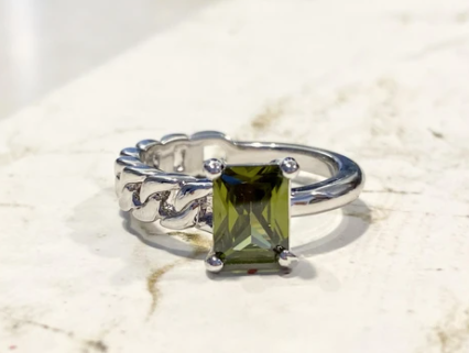 2Faced Peridot Zircon Ring