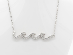 Wave CZ Silver Necklace