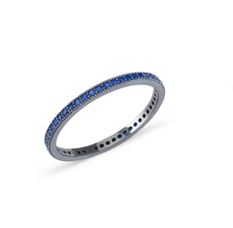 Eternity Blue Sapphire CZ 24K White Gold Ring