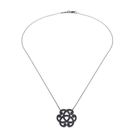 Serenity Black Spinel 24k White Gold Necklace