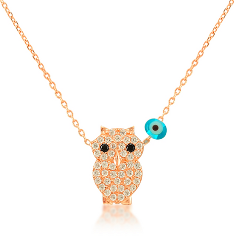 Owl CZ 24K Gold Necklace
